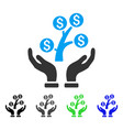 money tree care hands flat icon vector image