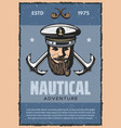 nautical anchor and sea captain vintage banner vector image vector image
