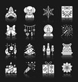 new year christmas white silhouette icon set vector image vector image