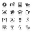 Photography icons black vector image vector image