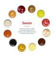 realistic detailed sauces in plate banner card vector image vector image