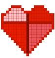 Red pixel heart vector image vector image