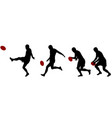 rugplayer kicking ball in four steps vector image vector image