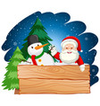 santa and snowman with wooden board vector image vector image