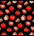 seamless pattern of tomatoes whole and pieces vector image vector image