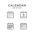 set line icons calendar vector image vector image
