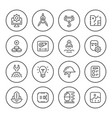 set round line icons engineering vector image vector image