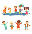smiling little kids playing on puddles set for vector image vector image