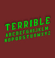 terrible alphabet halloween stylized 3d font vector image
