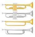 trumpet icon set realistic style vector image vector image