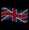 waving uk flag collage of refresh items vector image