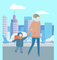 woman and child walking in city park together vector image vector image