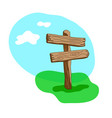 two arrow shapes blank cartoon wooden signpost vector image