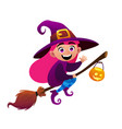 a little witch flies on broom on white background vector image vector image