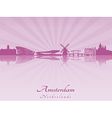 Amsterdam skyline in radiant orchid vector image vector image
