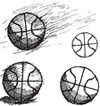Basketball ball sketch set isolated on white vector image vector image
