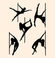beautiful pole dancer silhouette 01 vector image vector image