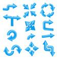 blue 3d arrows set of different shiny web signs vector image