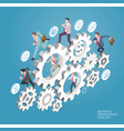 business people run on gear vector image vector image