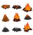 campfire icon set realistic style vector image