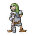 cartoon medieval chain mail warrior with mace vector image vector image