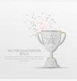champion trophy low poly wire frame on white vector image vector image
