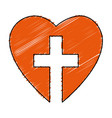 christian cross with heart isolated icon vector image vector image