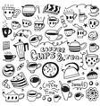 coffee cups doodles vector image