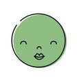 color kawaii head with cute beauty face vector image