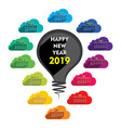 colorful new year calender 2019 design vector image vector image