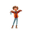 cowboy in traditional clothes standing with axe vector image vector image