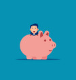 cute business man with piggy bank business vector image