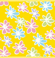 daisy flowers hand drawn color seamless pattern vector image vector image