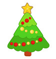 drawn funny christmas tree with ornaments isolated vector image
