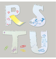 English alphabet - letters are made of old paper vector image vector image