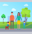 family in city park people vector image vector image