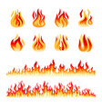 fire flames isolated vector image vector image