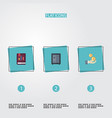 flat icons book profit safe and other vector image vector image
