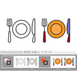 flatware cutlery linear icon coloring page vector image
