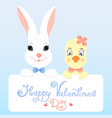 funny bunny and chicken with a greeting card for vector image vector image