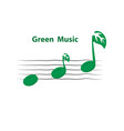 green leaves icon with musical note logo design vector image