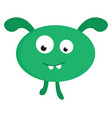 green rabbit monster on white background vector image vector image