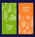 hand drawn cacti plants web banner vector image vector image
