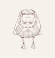 head nordic warrior with beard braids hand vector image