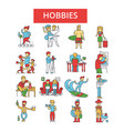 hobbies thin line icons linear flat vector image