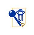 law justice firm key paper pillar logo design vector image
