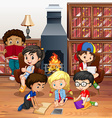 Many children reading books in the room vector image vector image