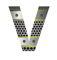 perforated metal letter V vector image
