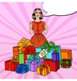 Pop Art Woman with Huge Gift Boxes and Thumbs Up vector image vector image