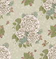 seamless vintage pattern flowers and berries vector image vector image